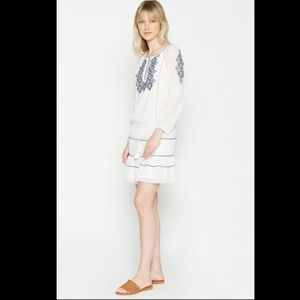 Joie Sid Embroidered Peasant Dress In Porcelain